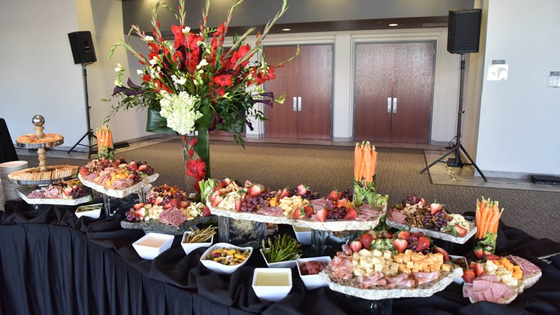 Delicious and beautiful display of food offered at the corporate awards event